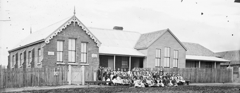 Schoolgirls and teachers, Hill End Public School 1873-4 ON 4 Box 8 No 18805 Digital order no: a2822691