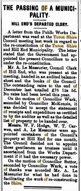 """THE PASSING OF A MUNICIPALITY."" Wellington Times 13 July 1908"