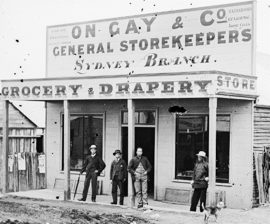 On Gay and his countrymen, outside his grocery & drapery store, Hill End ON 4 Box 7 No 18723 Digital order no: a2822609 State Library of NSW
