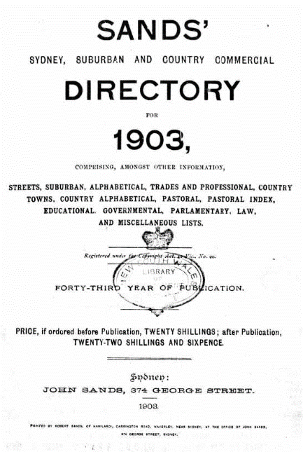 Sands Post Office Directory