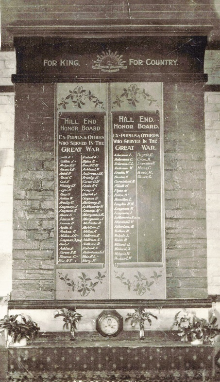 Hill End Public School Original Honor Roll
