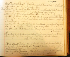 The last page of the Hill End Borough Minute book (photo: HEATGG collection)